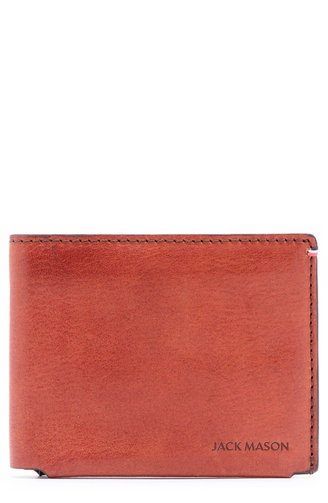 Pebbled Leather Wallet,                         Main,                         color, Burnt Orange