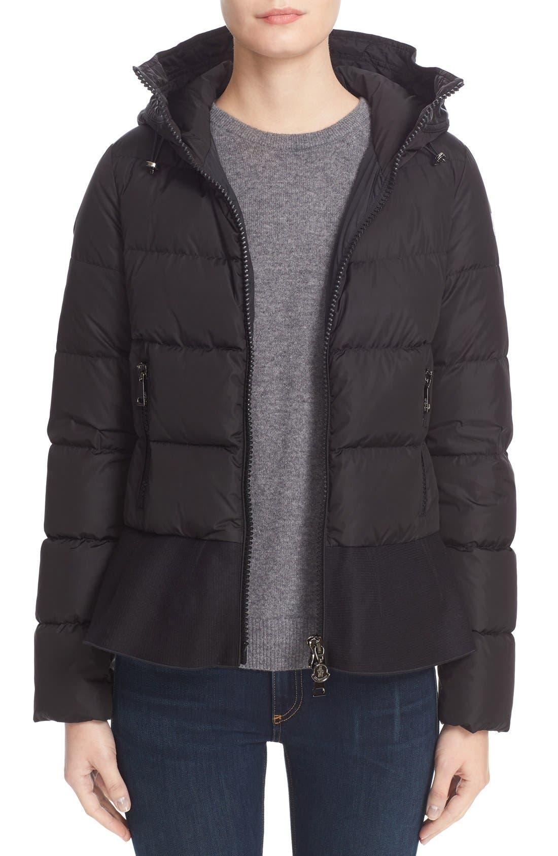 Nesea Peplum Hem Down Puffer Jacket,                             Main thumbnail 1, color,                             Black
