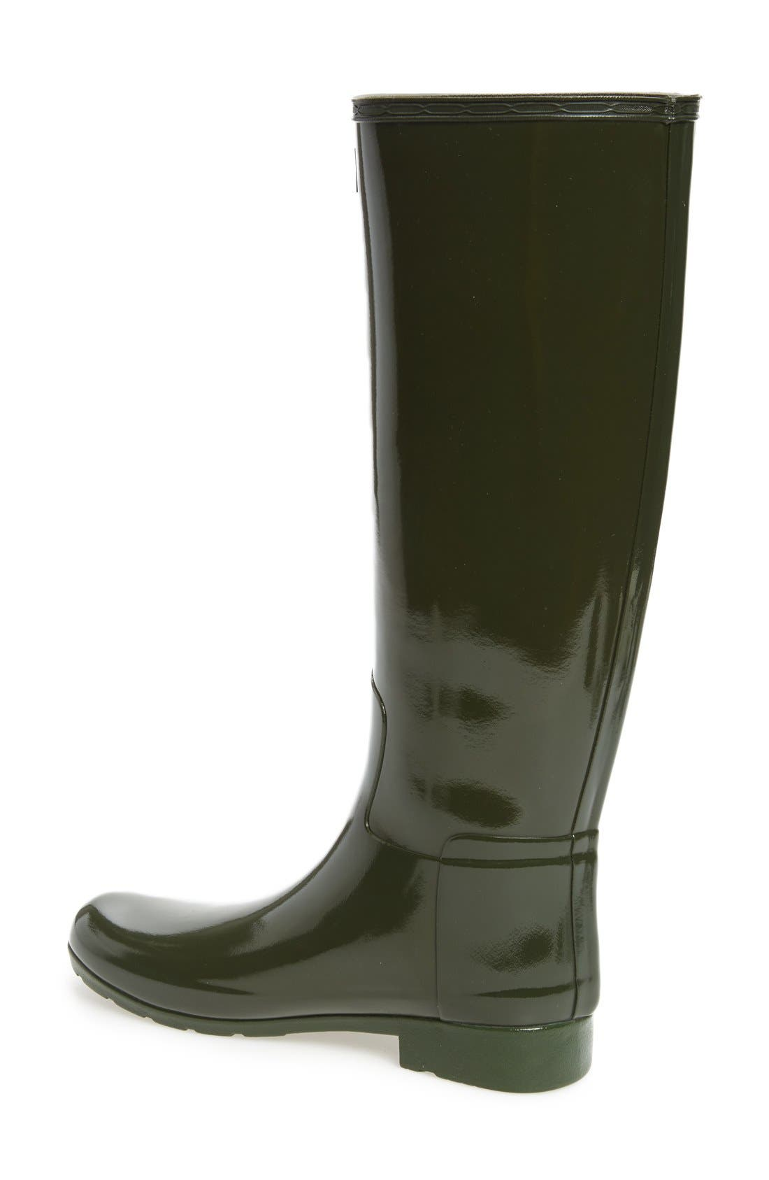 'Original Refined' High Gloss Rain Boot,                             Alternate thumbnail 4, color,                             Dark Olive