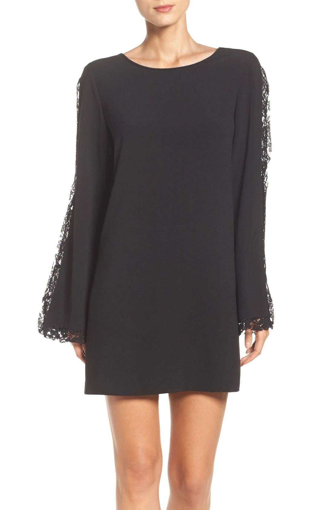 Lacey Bell Sleeve Shift Dress,                             Main thumbnail 1, color,                             Black