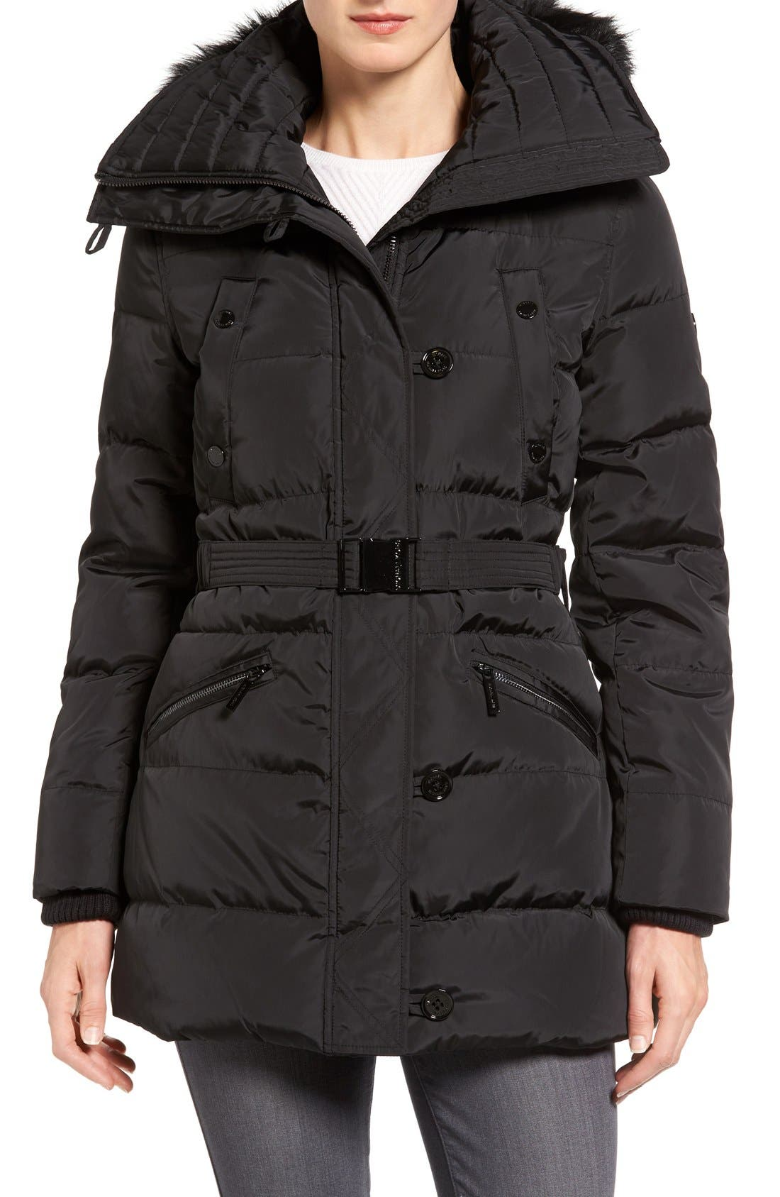 Alternate Image 1 Selected - MICHAEL Michael Kors Faux Fur Trim Belted Down & Feather Fill Parka