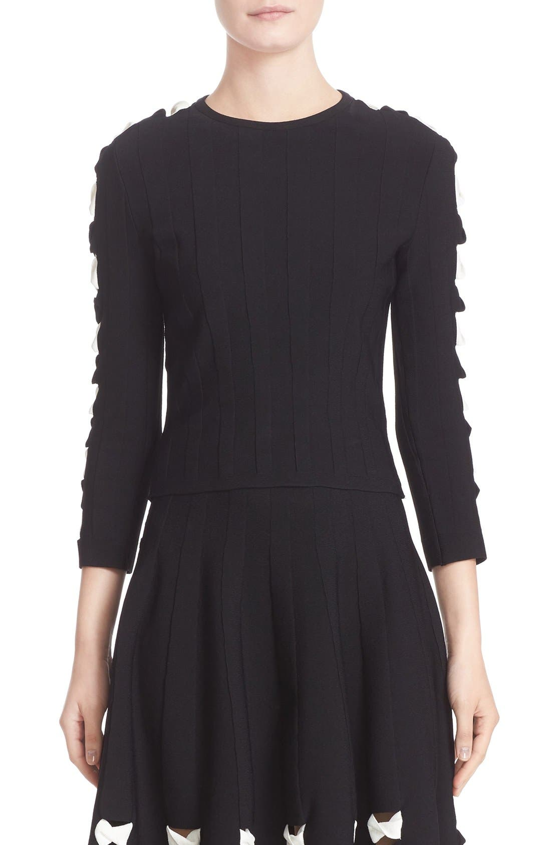 Twisted Cutout Knit Top,                         Main,                         color, Black/ Ivory