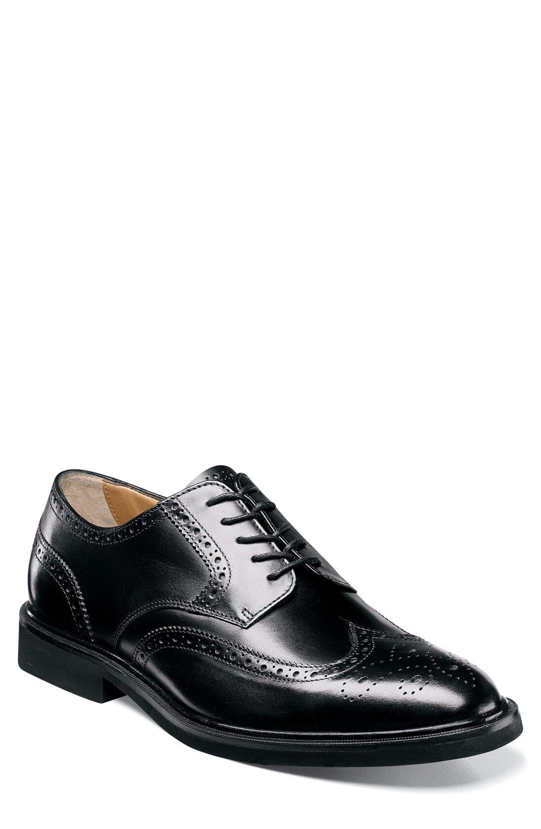 Hamilton Wingtip,                         Main,                         color, Black Leather