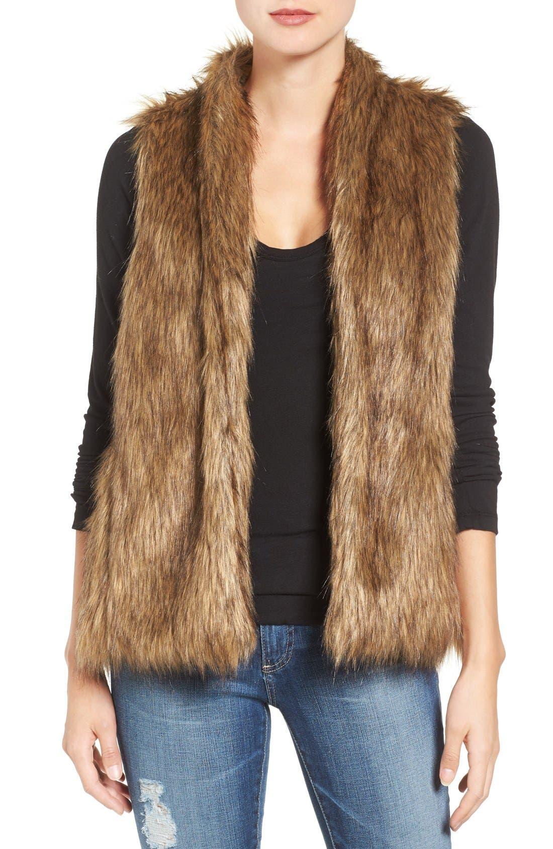 Faux Fur Vest,                             Main thumbnail 1, color,                             Tan Brown Faux Fur
