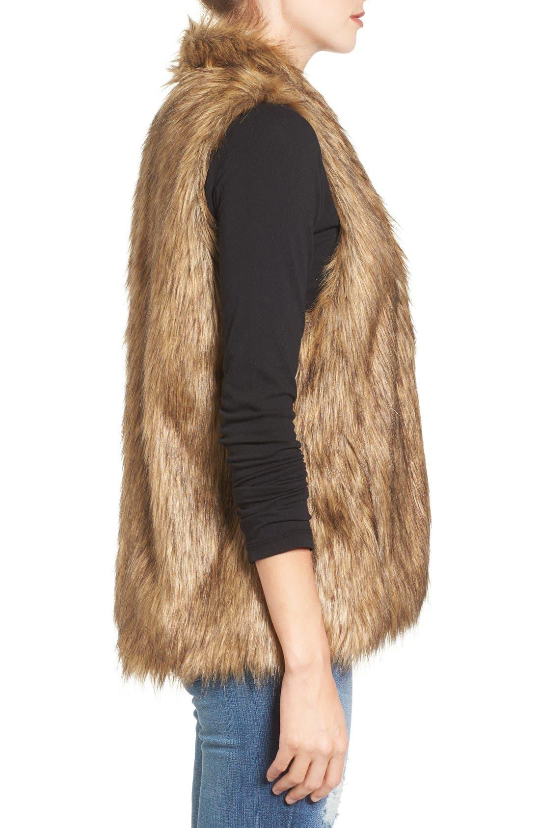 Faux Fur Vest,                             Alternate thumbnail 3, color,                             Tan Brown Faux Fur
