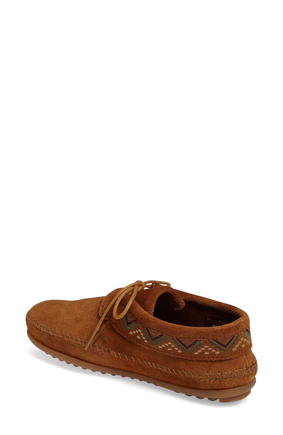 Mosaic Embroidered Moccasin,                             Alternate thumbnail 2, color,                             Brown Suede