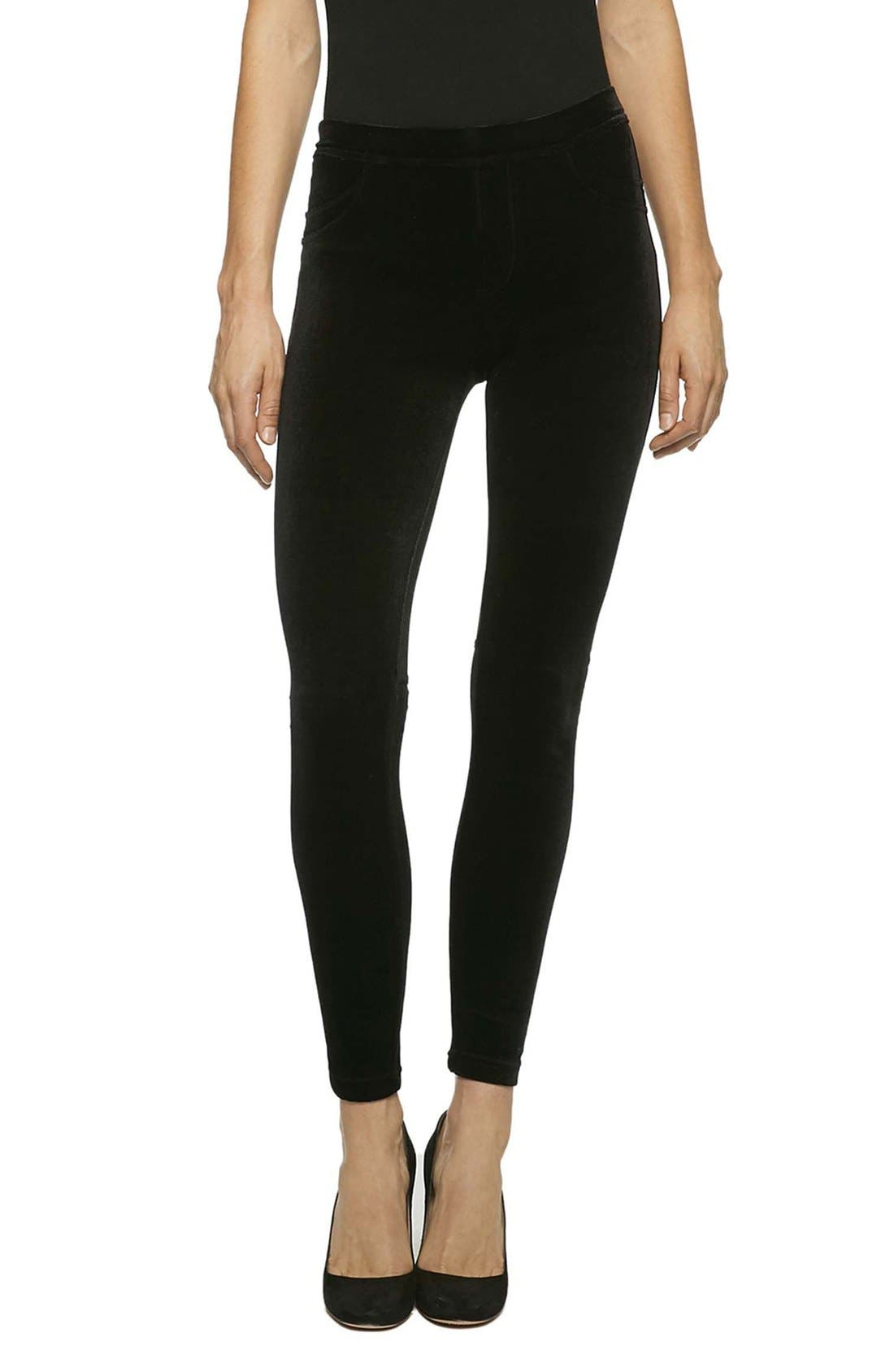 Grease Velvet Leggings,                             Main thumbnail 1, color,                             Solid Black Velvet