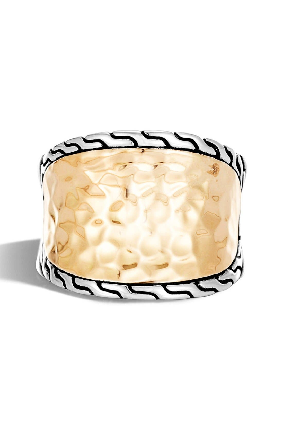 Classic Chain Hammered Saddle Ring,                             Alternate thumbnail 3, color,                             Silver