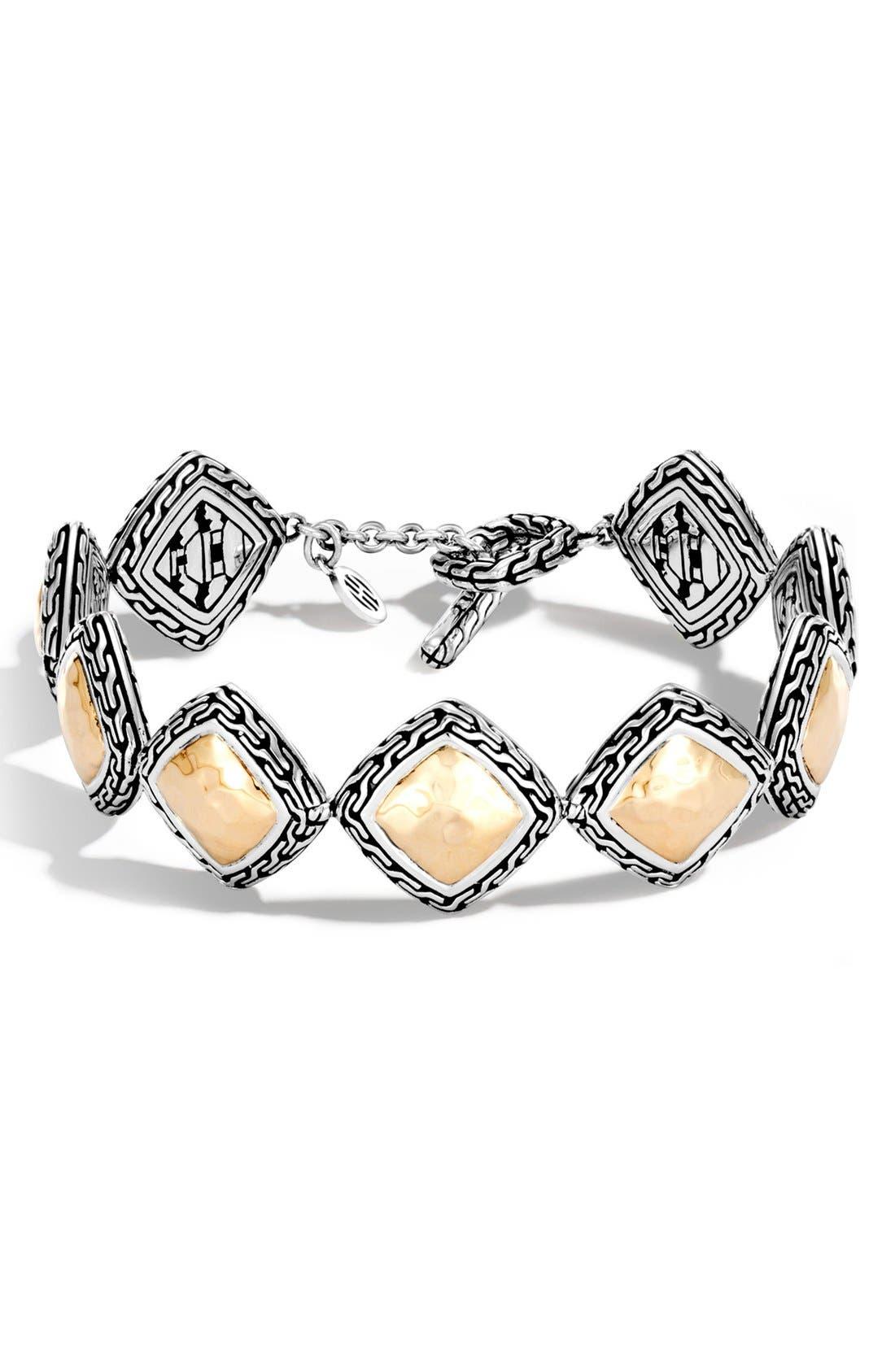 Classic Chain Heritage Quadrangle Bracelet,                         Main,                         color, Silver/ Gold