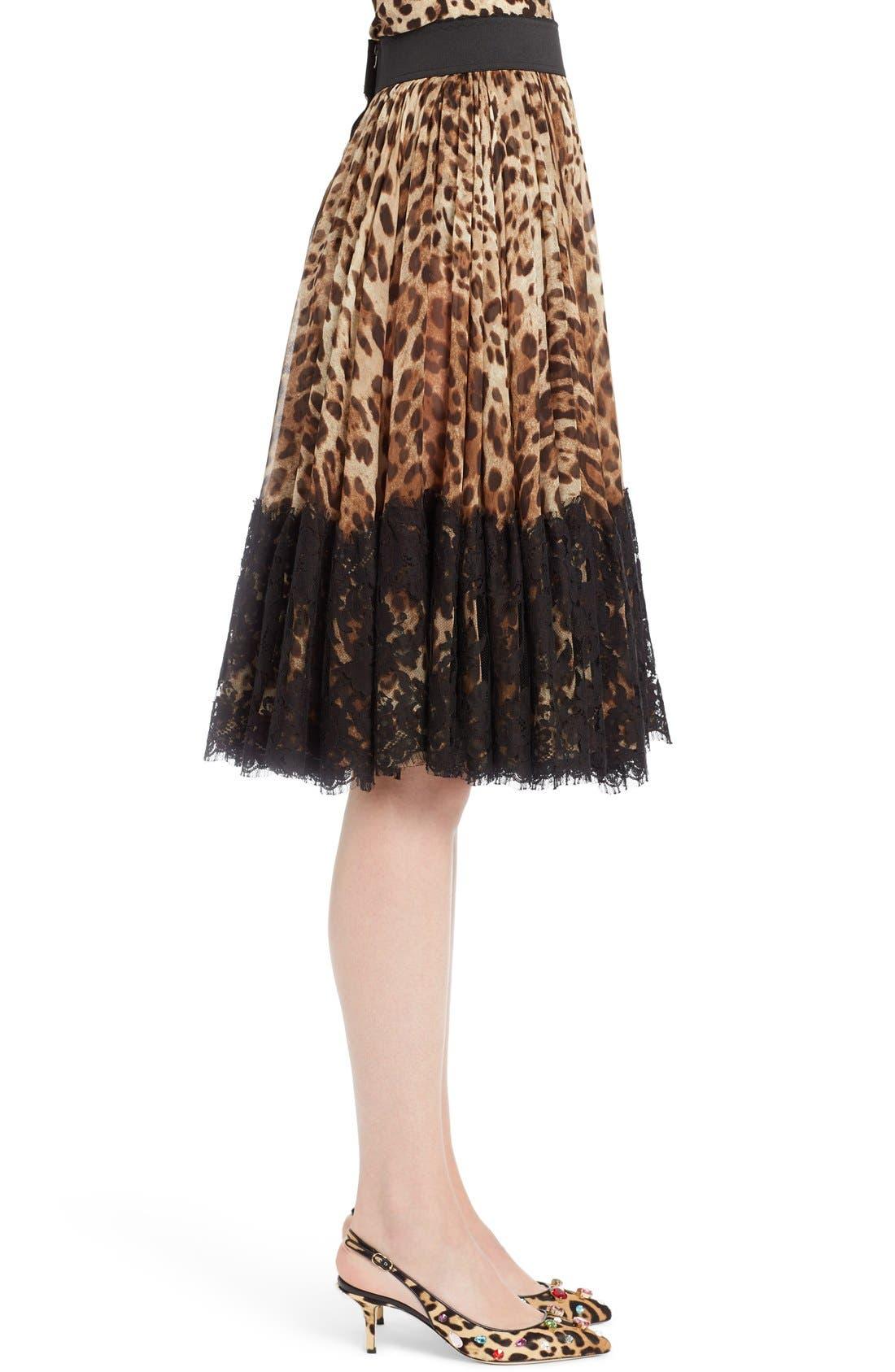 Lace Overlay Leopard Print Chiffon Full Skirt,                             Alternate thumbnail 4, color,                             Leopard