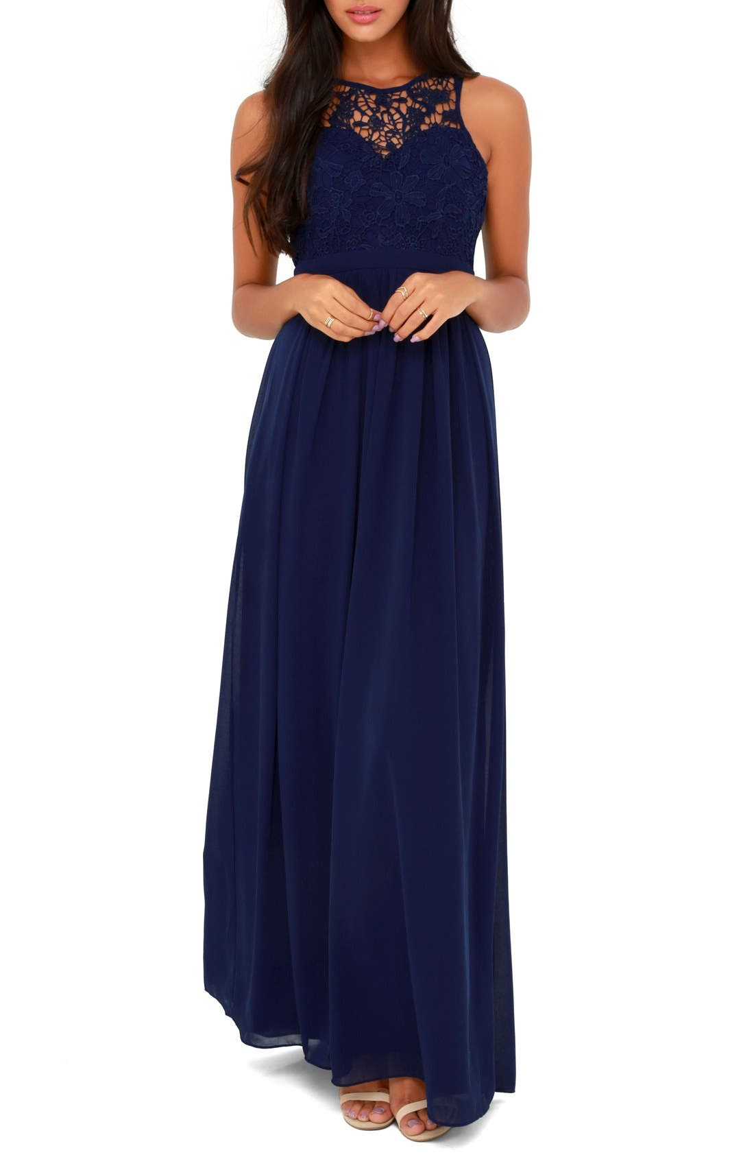 Alternate Image 1 Selected - Lulus Lace Overlay Sweetheart Chiffon Gown