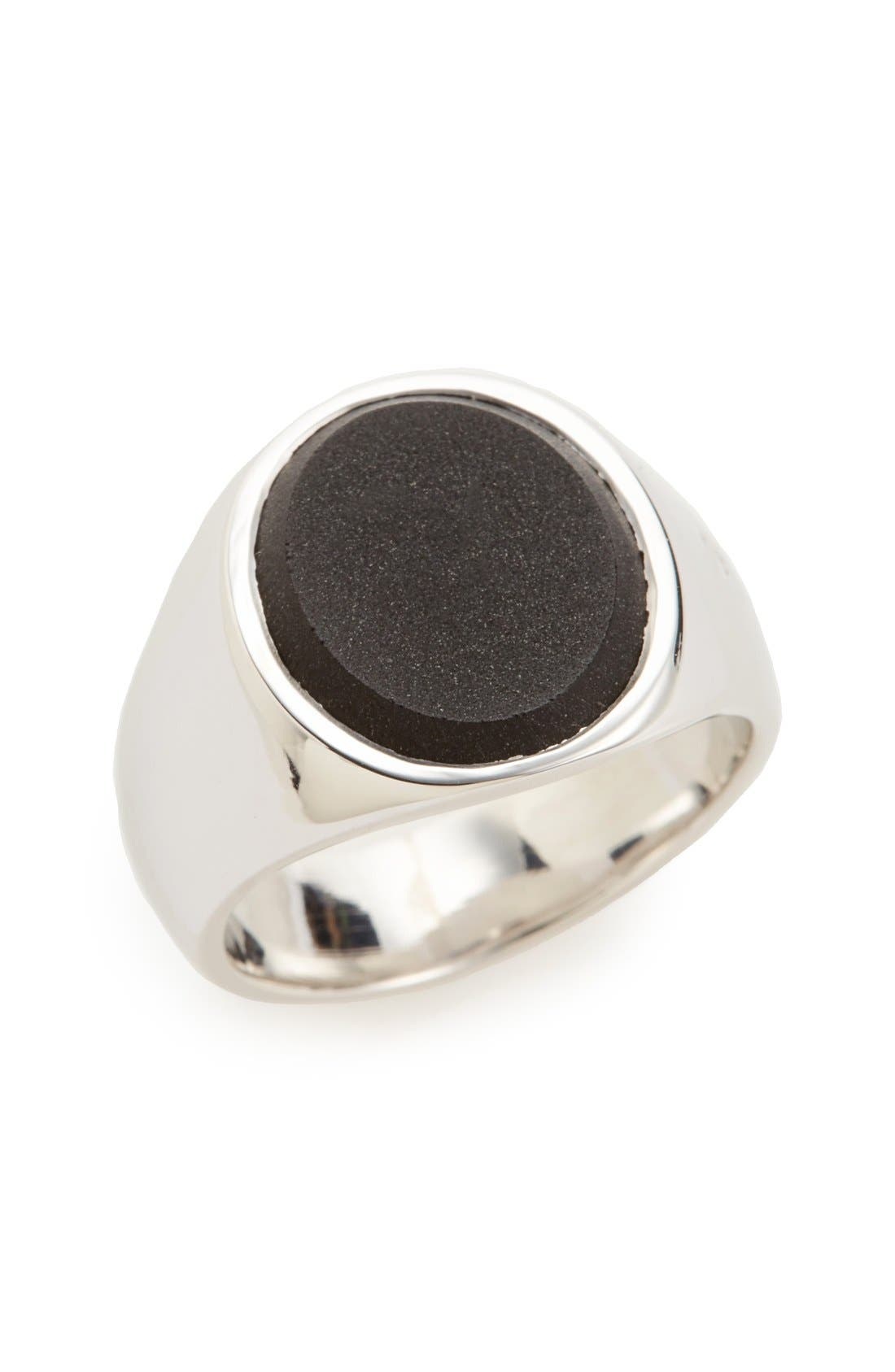 Patriot Collection Oval Black Onyx Signet Ring,                         Main,                         color, Silver