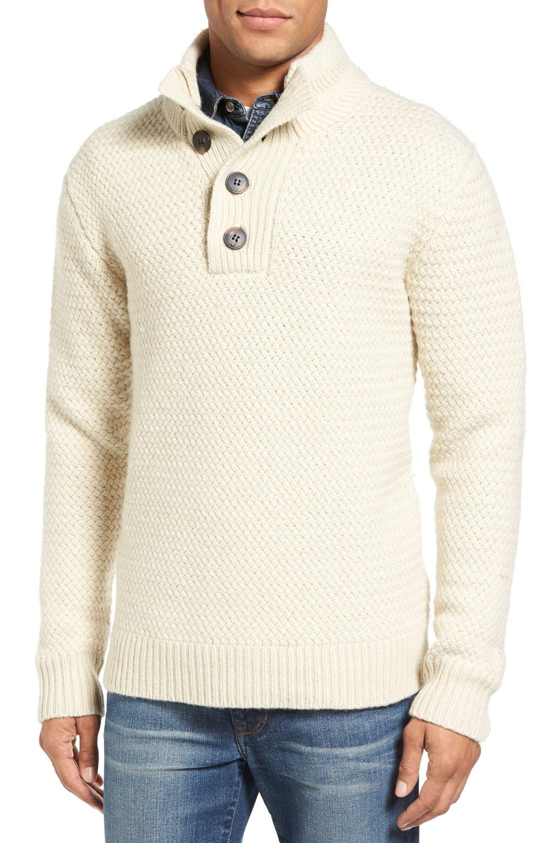 Military Henley Sweater,                             Main thumbnail 1, color,                             Off White