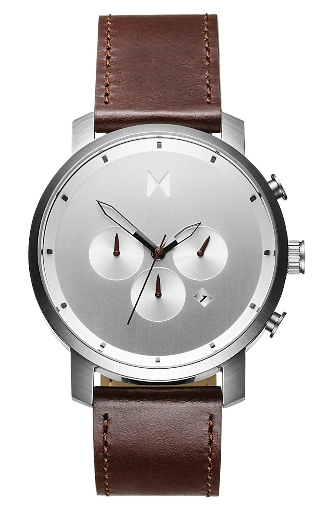Chronograph Leather Strap Watch, 45mm,                         Main,                         color, Silver/ Brown