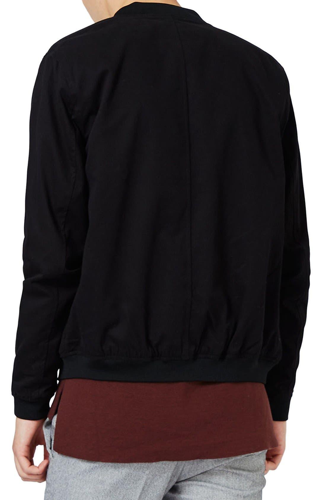 Cotton Bomber Jacket,                             Alternate thumbnail 3, color,                             Black