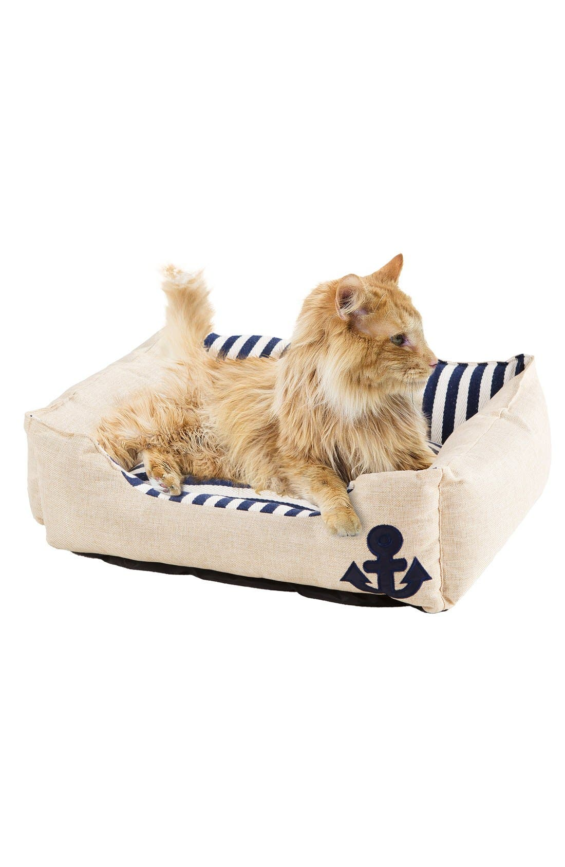 Everly Nautical Pet Bed,                         Main,                         color, Blue/ Natural