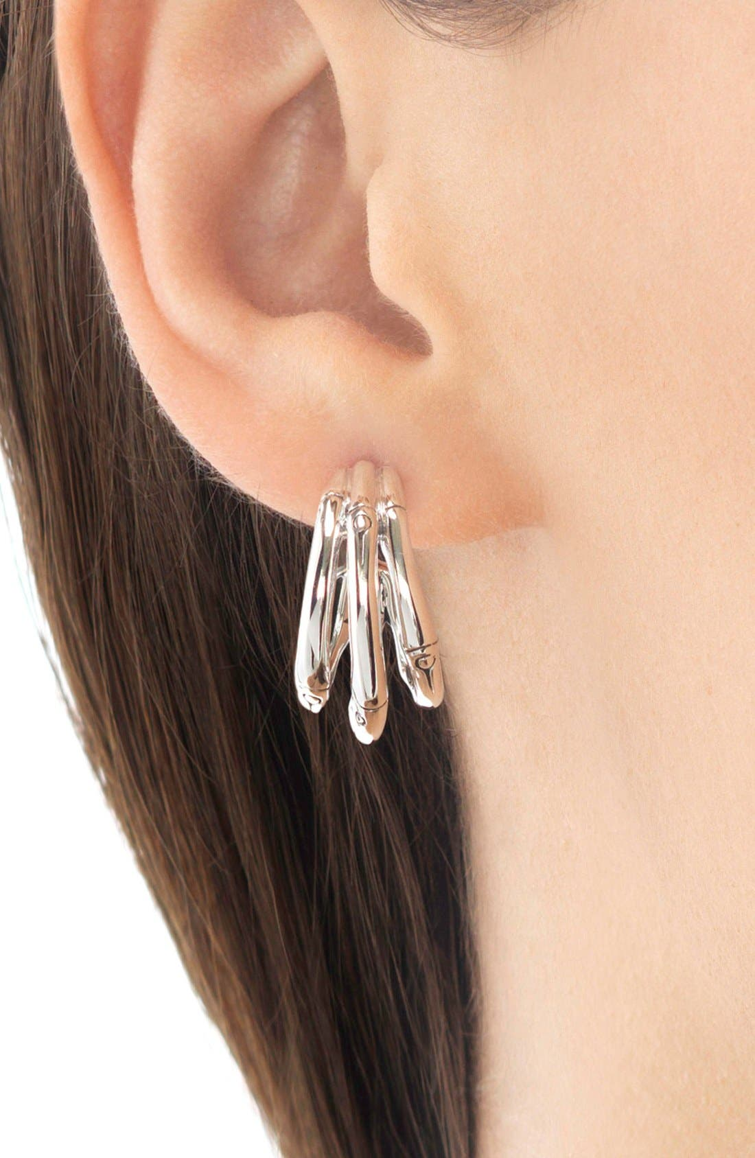 Bamboo Small Hoop Earrings,                             Alternate thumbnail 2, color,                             Silver