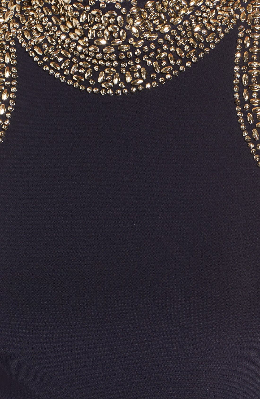 Embellished Gown,                             Alternate thumbnail 5, color,                             Navy/ Gold