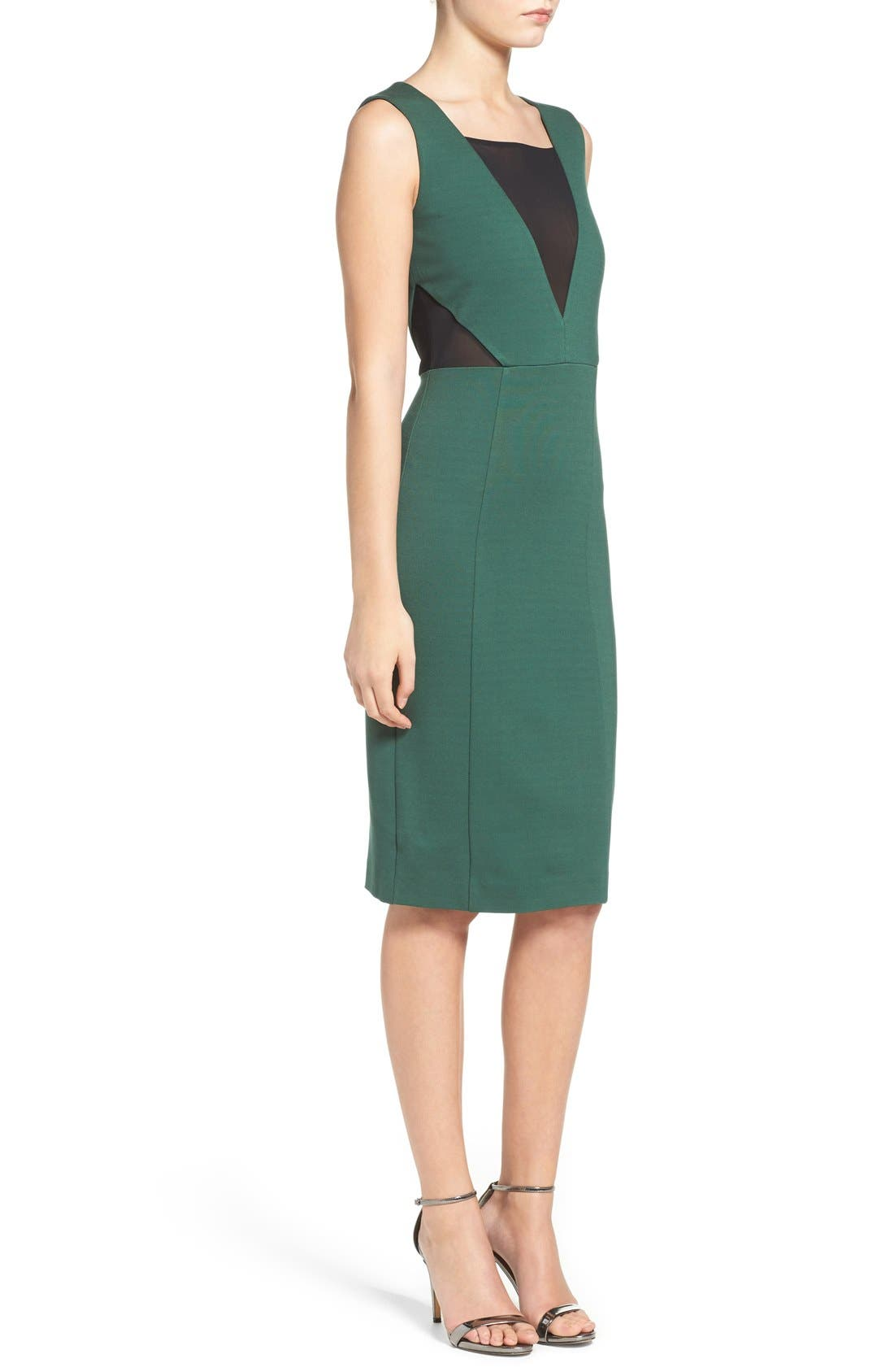 Lulu Body-Con Dress,                             Alternate thumbnail 3, color,                             Pine Forest Green