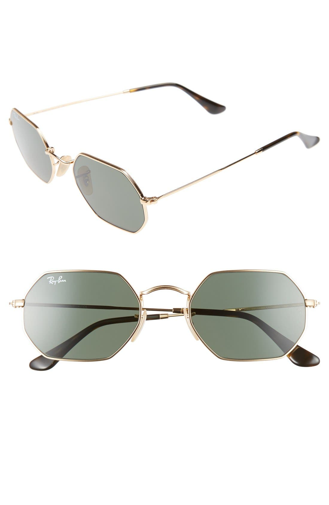 Icons 53mm Sunglasses,                         Main,                         color, Gold/ Green