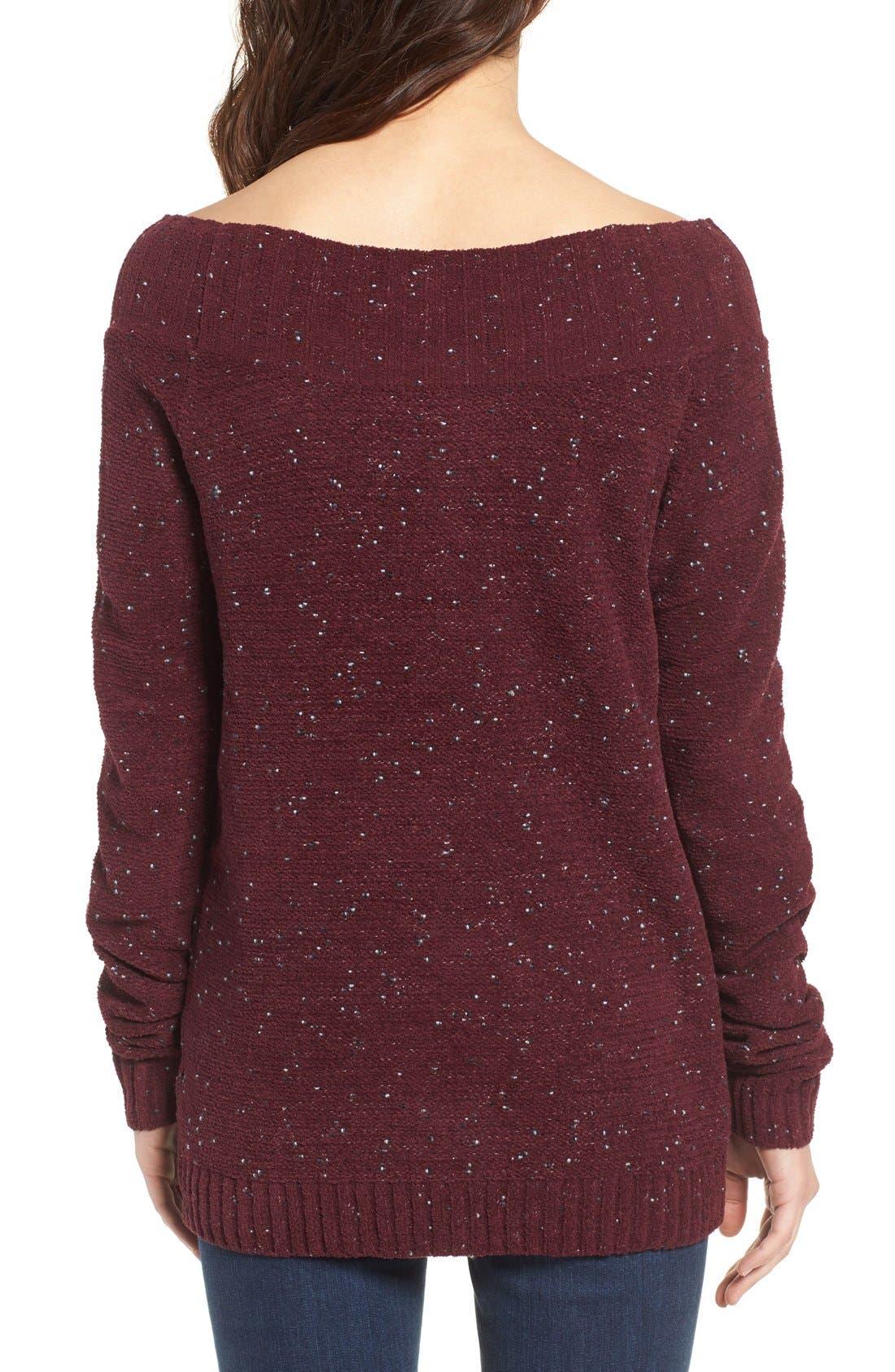 'Marilyn' Sweater,                             Alternate thumbnail 2, color,                             Burgundy Stem Chenille Combo