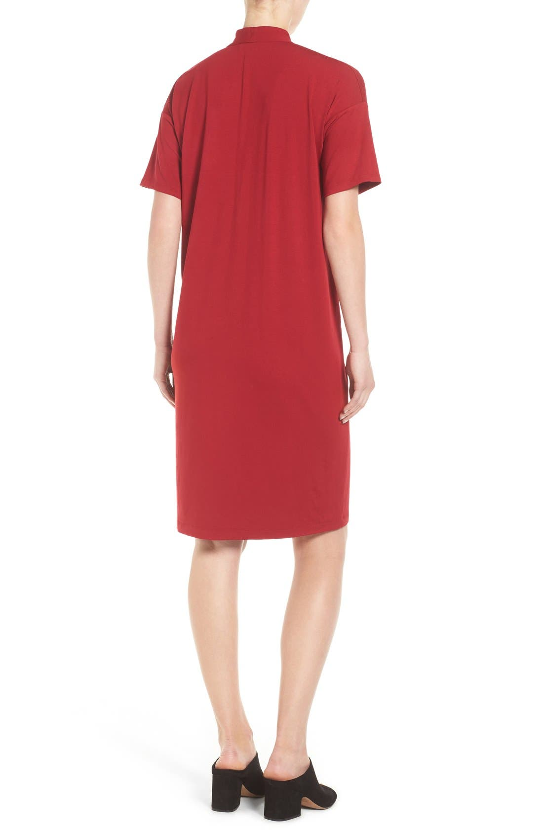 Alternate Image 2  - Eileen Fisher V-Neck Stretch Jersey Shift Dress