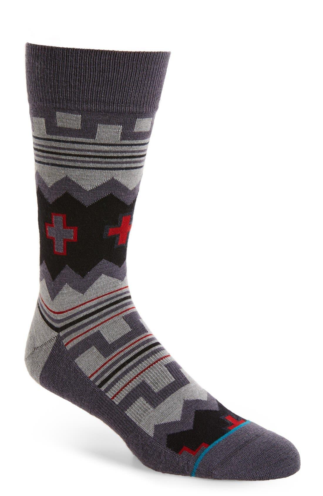 Badon Wool Blend Crew Socks,                             Main thumbnail 1, color,                             Grey