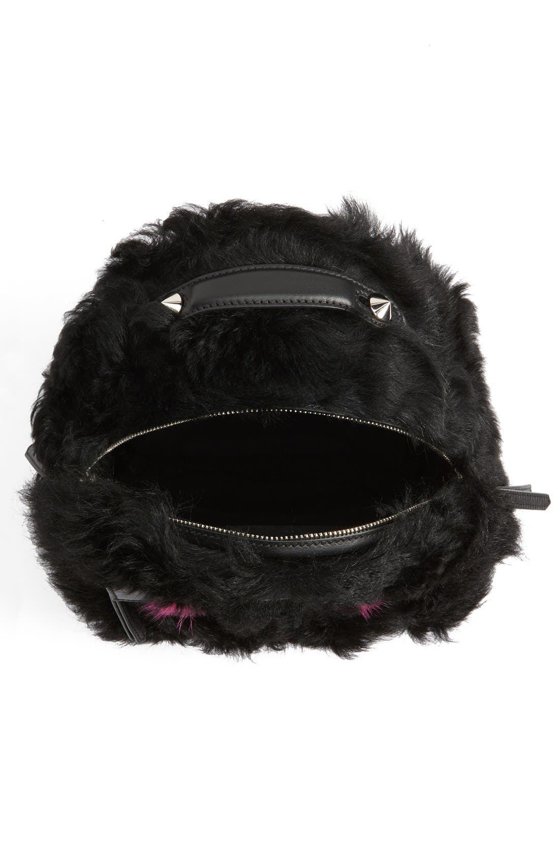 'Mini Monster' Genuine Shearling & Genuine Mink Fur Backpack,                             Alternate thumbnail 4, color,                             Black/ Fuchsia / Palladium