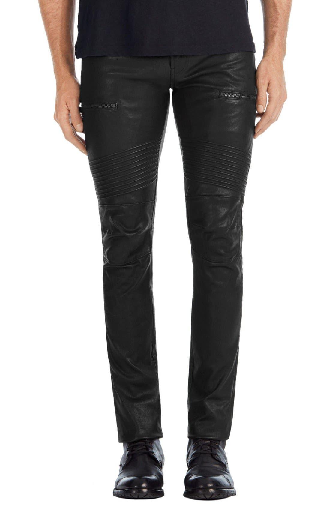 Acrux Skinny Fit Moto Leather Pants,                             Main thumbnail 1, color,                             Black
