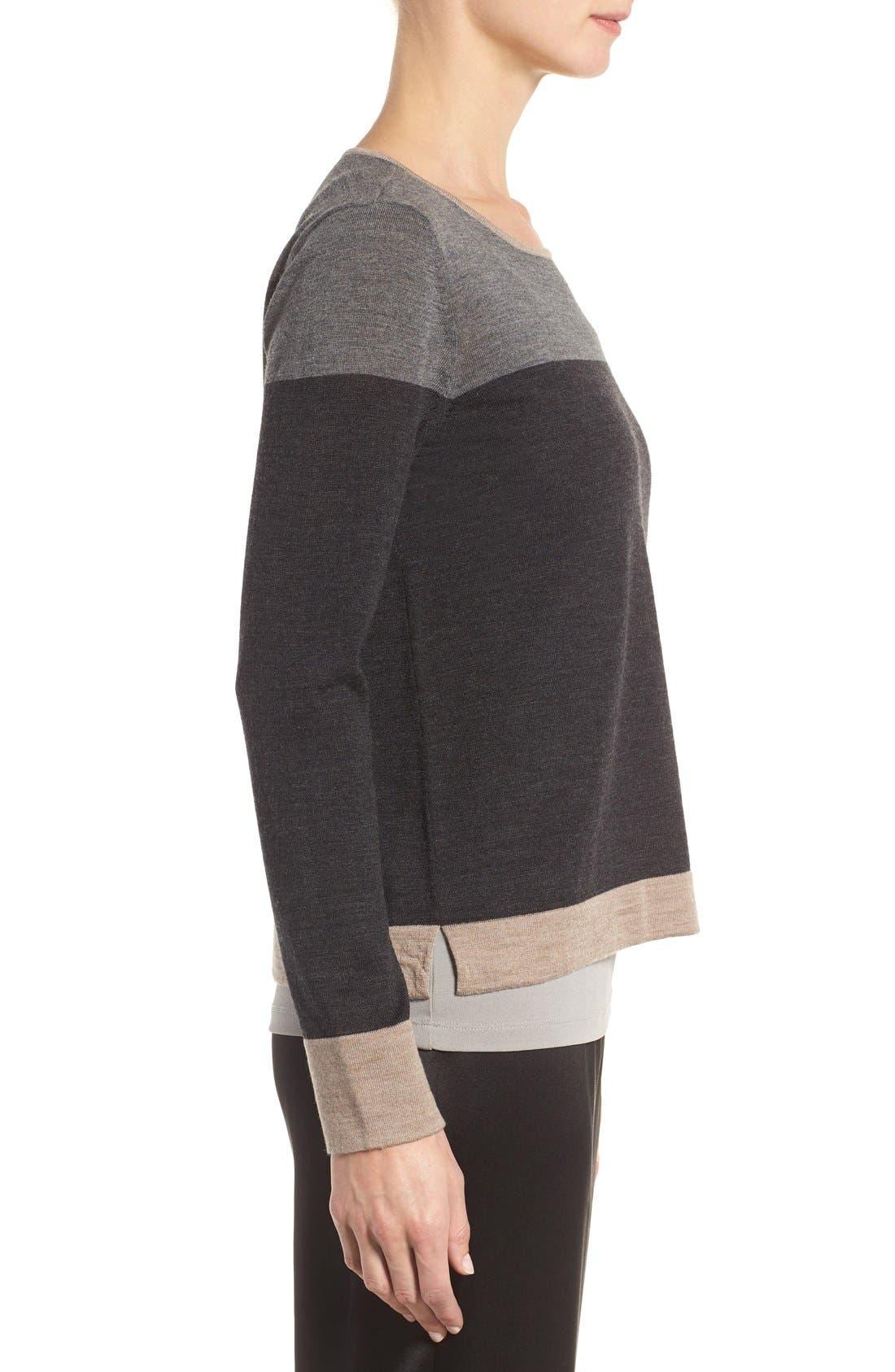 Alternate Image 3  - Eileen Fisher Colorblock Merino Wool Sweater (Regular & Petite)
