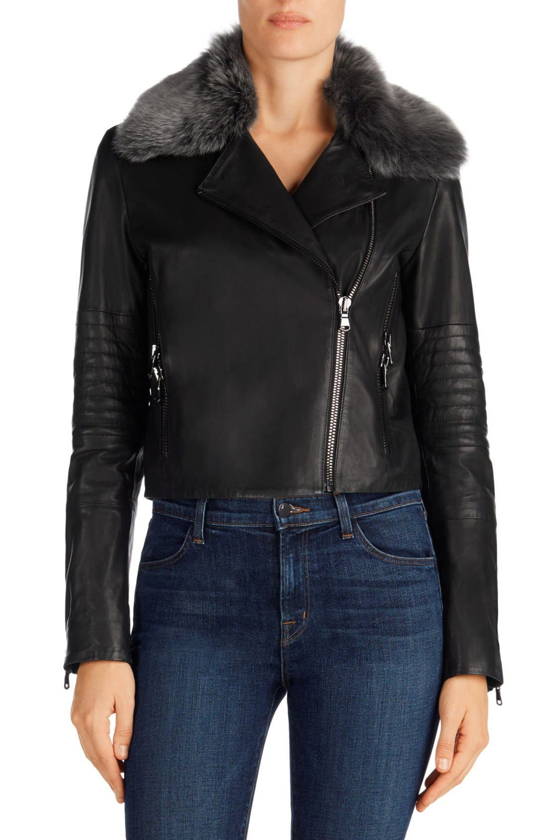Main Image - J Brand Aiah Leather Moto Jacket with Detachable Lamb Shearling Collar