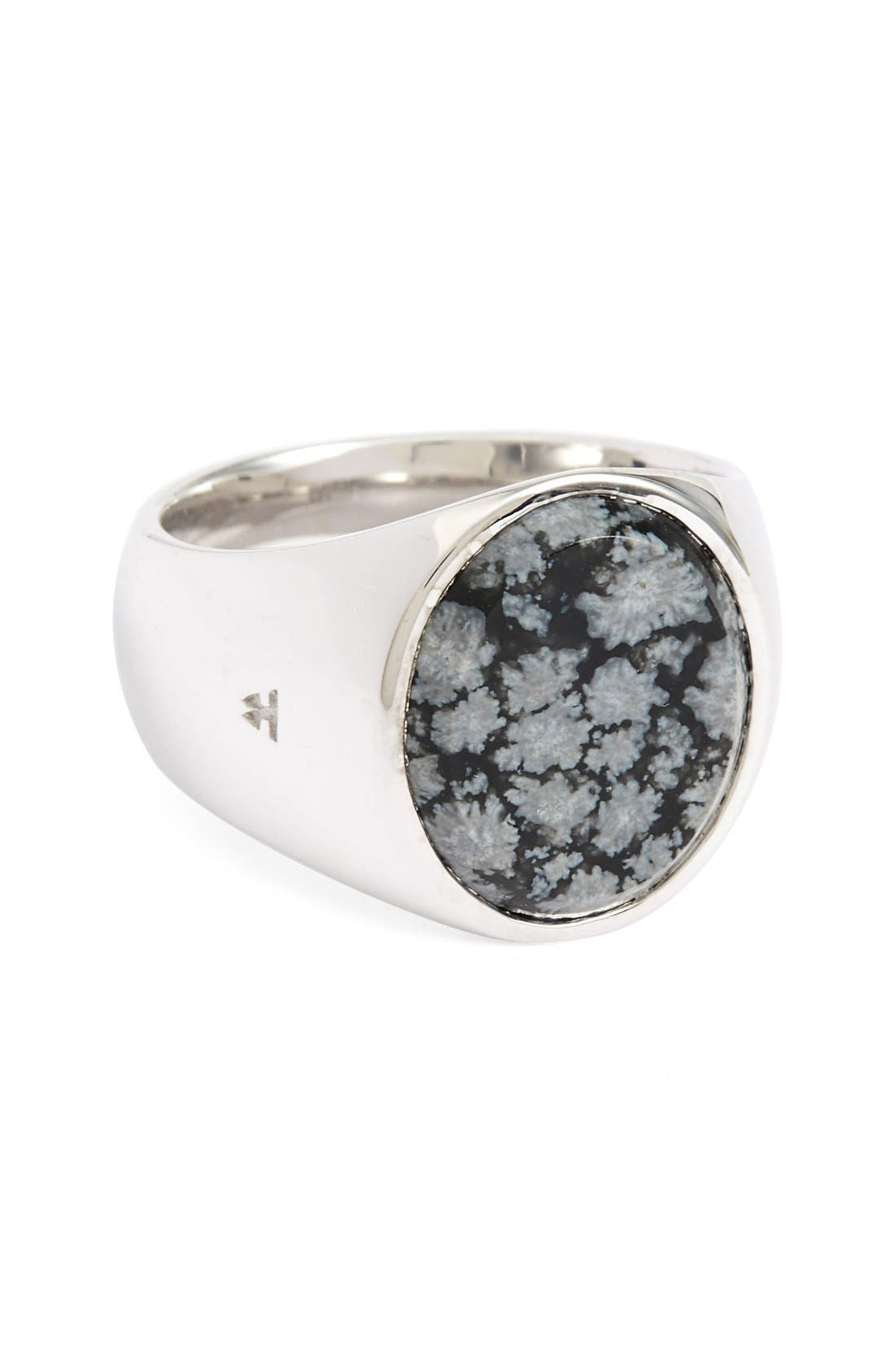 Snowflake Obsidian Oval Signet Ring,                             Main thumbnail 1, color,                             Silver