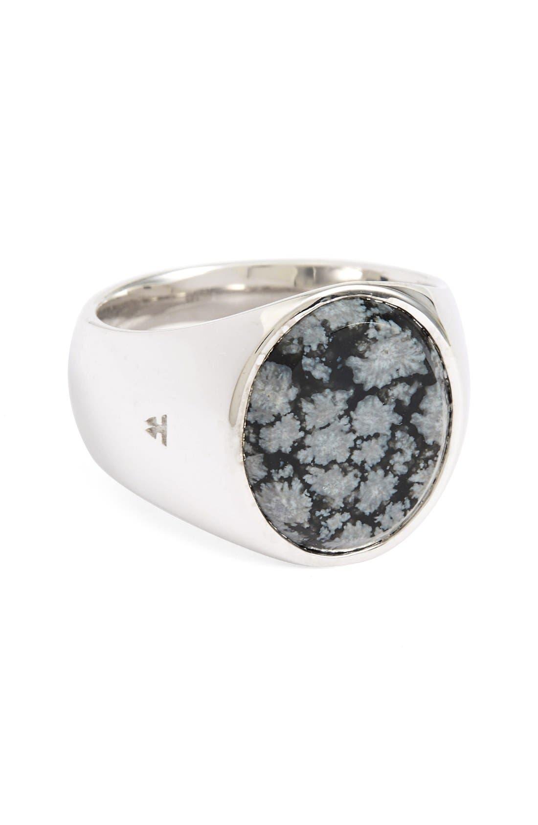 Alternate Image 1 Selected - Tom Wood Snowflake Obsidian Oval Signet Ring