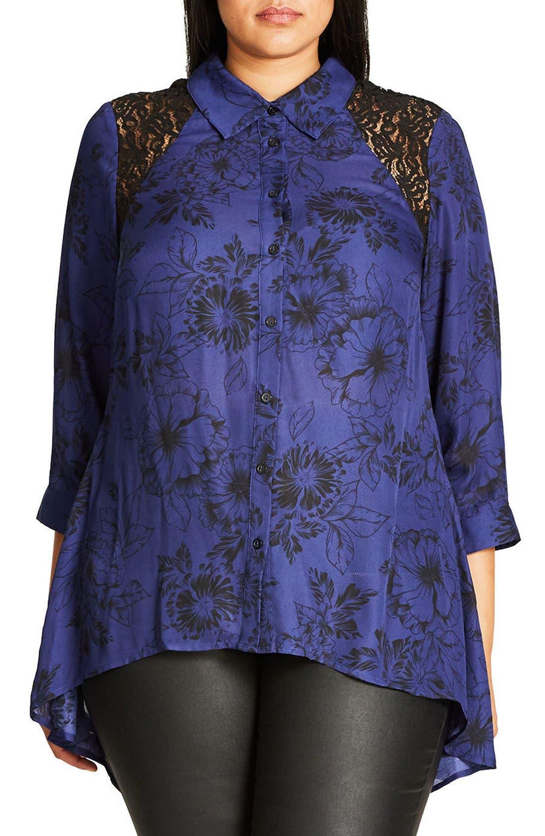 Des Fleurs Back Keyhole Shirt,                             Main thumbnail 1, color,                             Blue Indigo