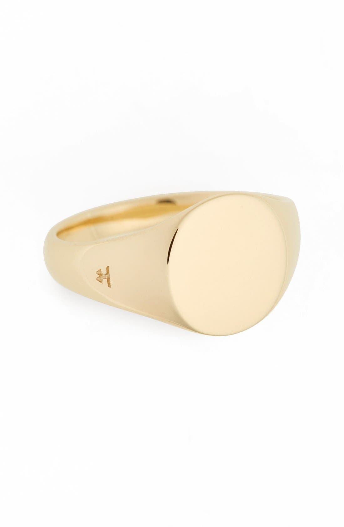 Mini Oval Signet Ring,                         Main,                         color, Gold