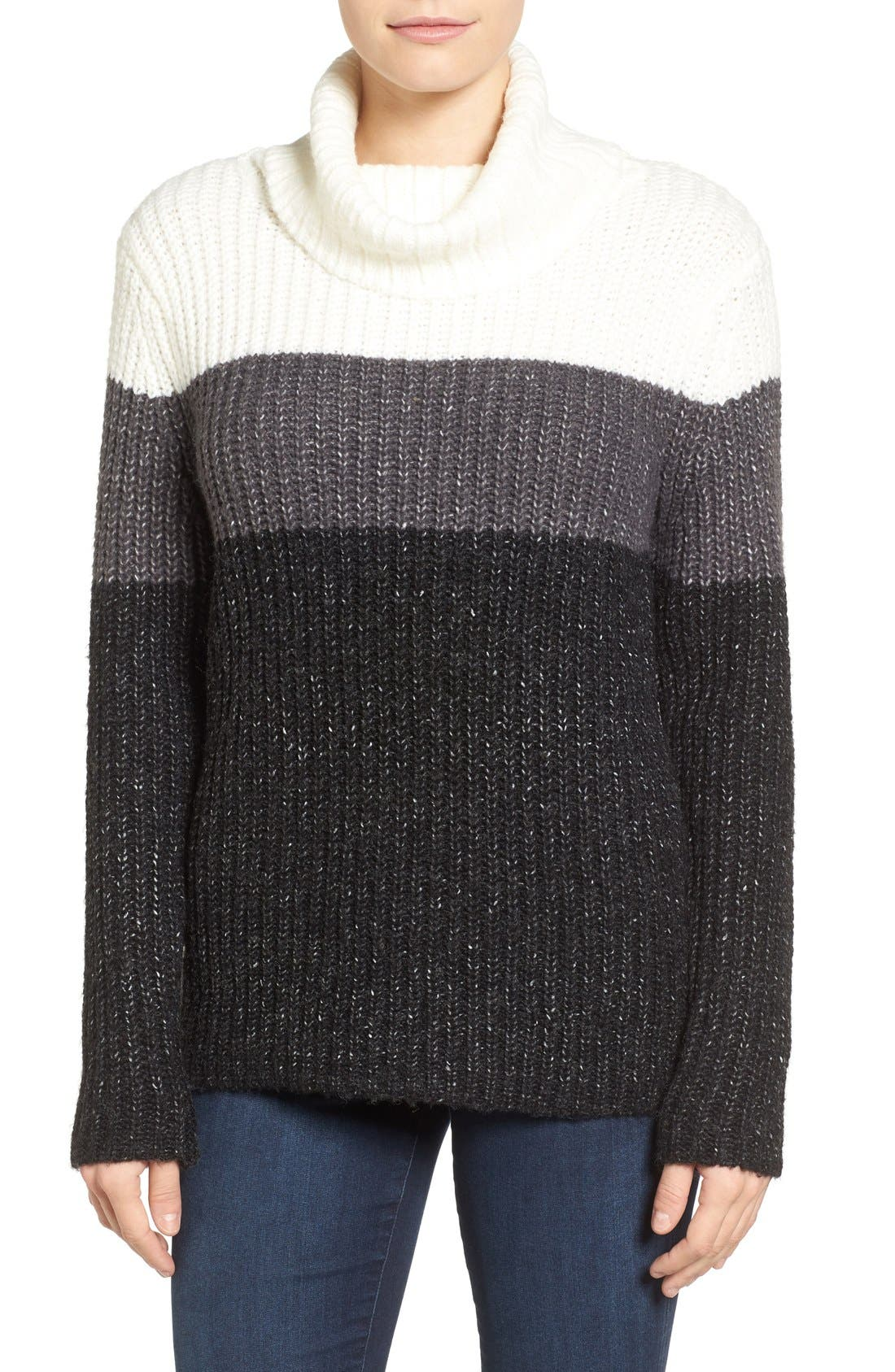 Main Image - Press Stripe Knit Turtleneck Sweater