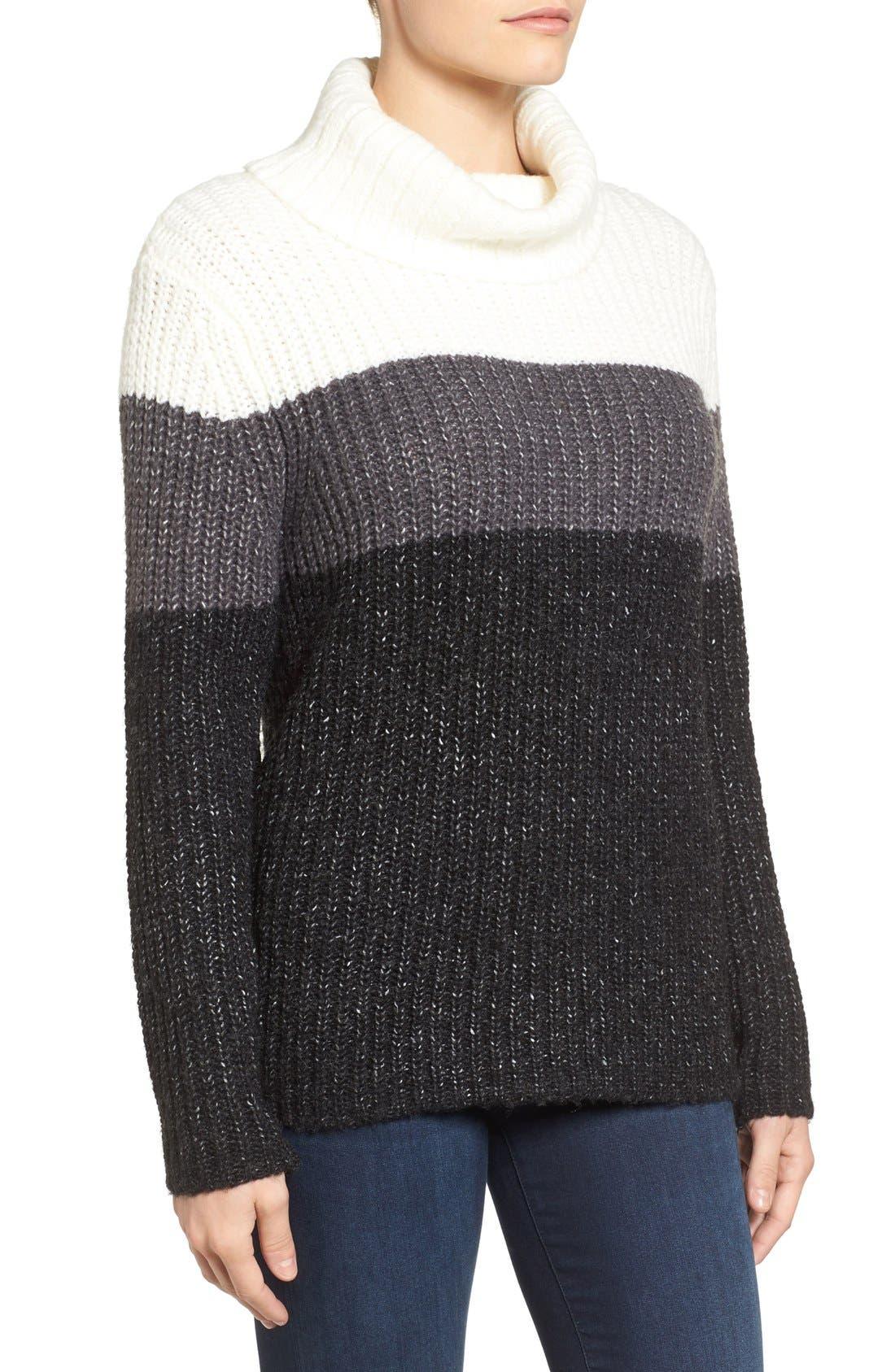 Alternate Image 3  - Press Stripe Knit Turtleneck Sweater