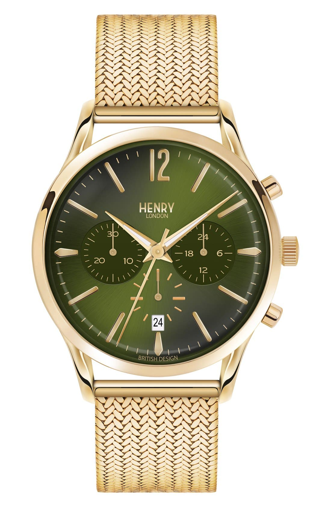 Chiswick Chronograph Mesh Strap Watch, 41mm,                             Main thumbnail 1, color,                             Gold/ Green