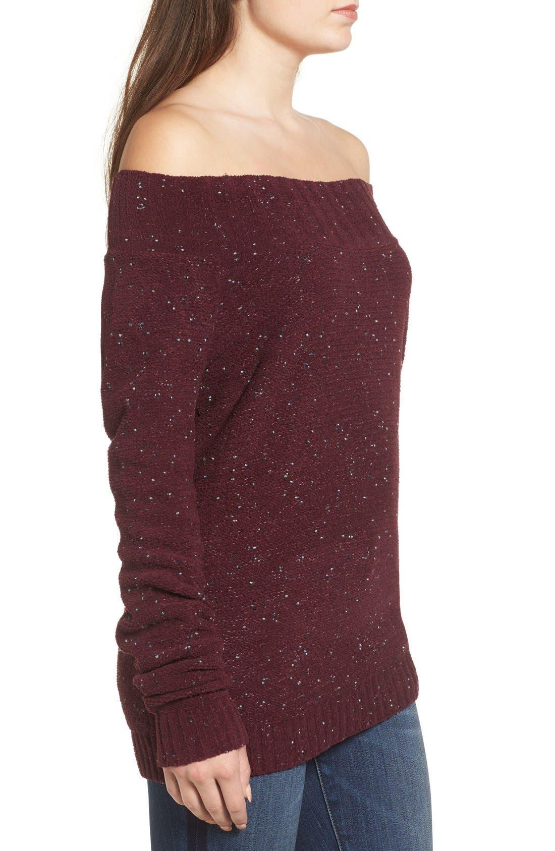 'Marilyn' Sweater,                             Alternate thumbnail 6, color,                             Burgundy Stem Chenille Combo