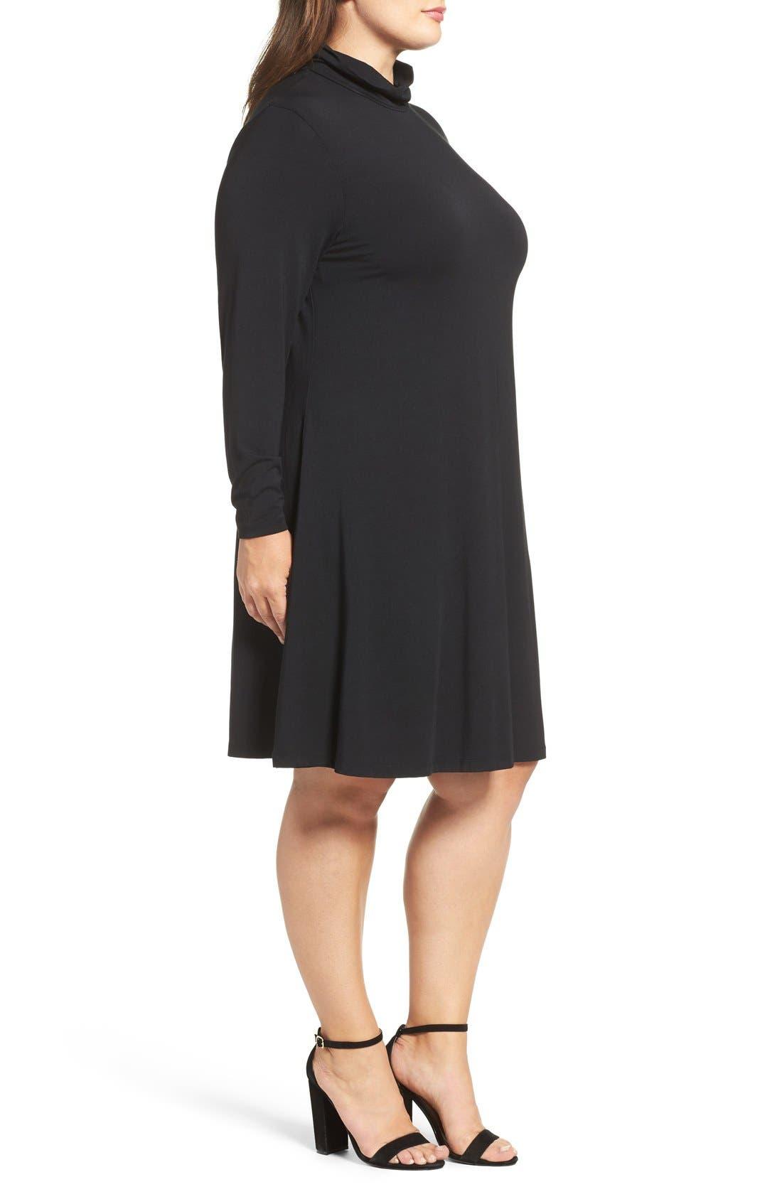 Sally Turtleneck A-Line Dress,                             Alternate thumbnail 3, color,                             Black
