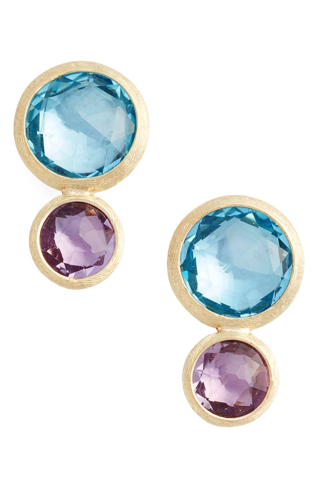 Jaipur Semiprecious Stone Drop Earrings,                         Main,                         color, Yellow Gold
