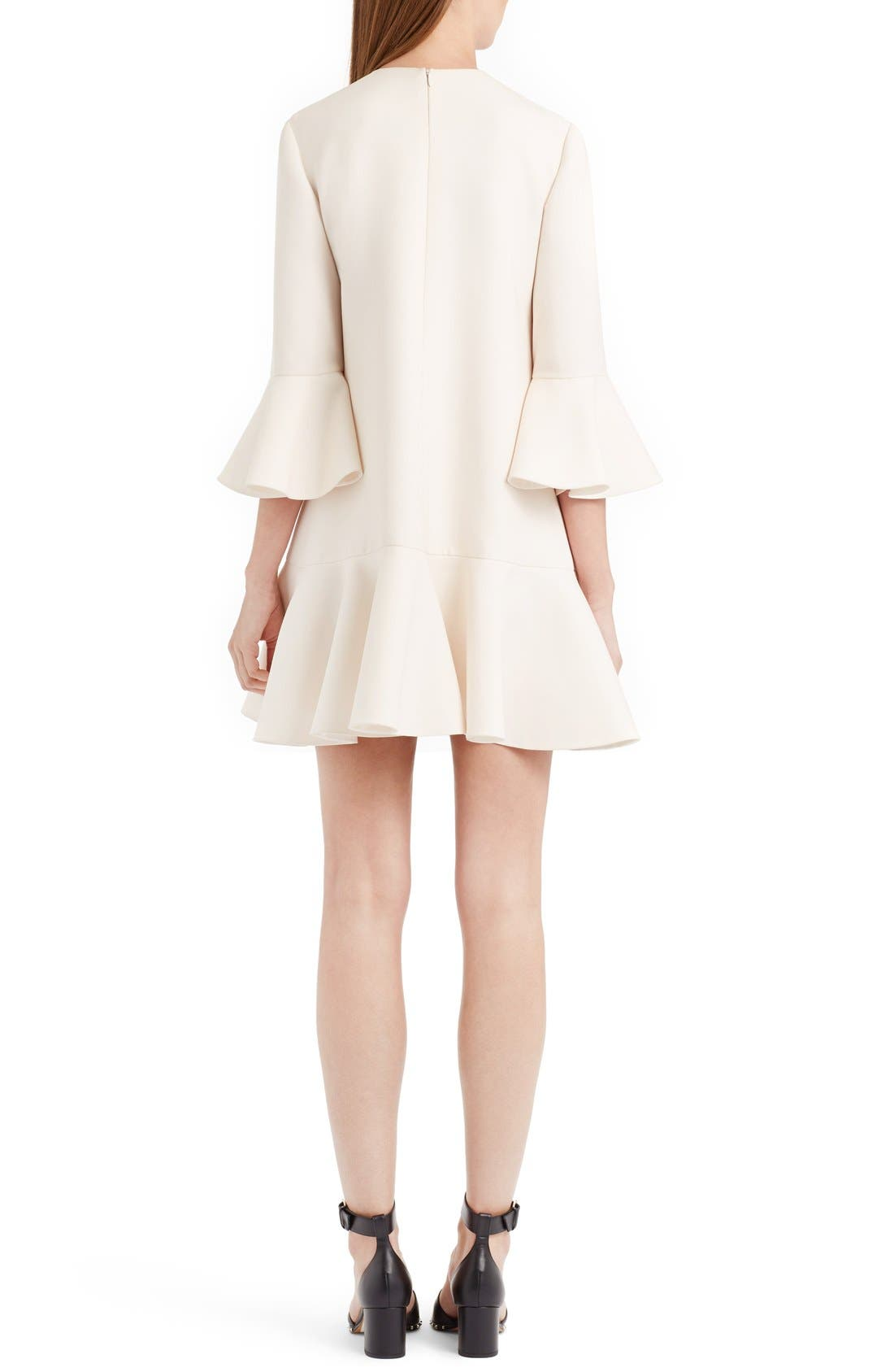 Bell Sleeve Crepe Couture Dress,                             Alternate thumbnail 2, color,                             Ivory