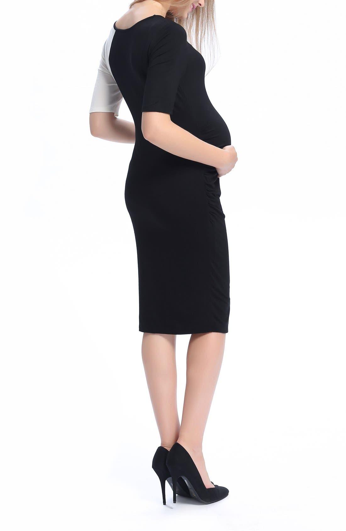 Daphne Colorblock Maternity Dress,                             Alternate thumbnail 4, color,                             Black/ White