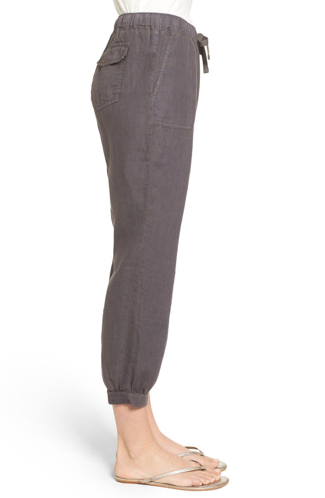 Crop Linen Joggers,                             Alternate thumbnail 2, color,                             Grey Ebony