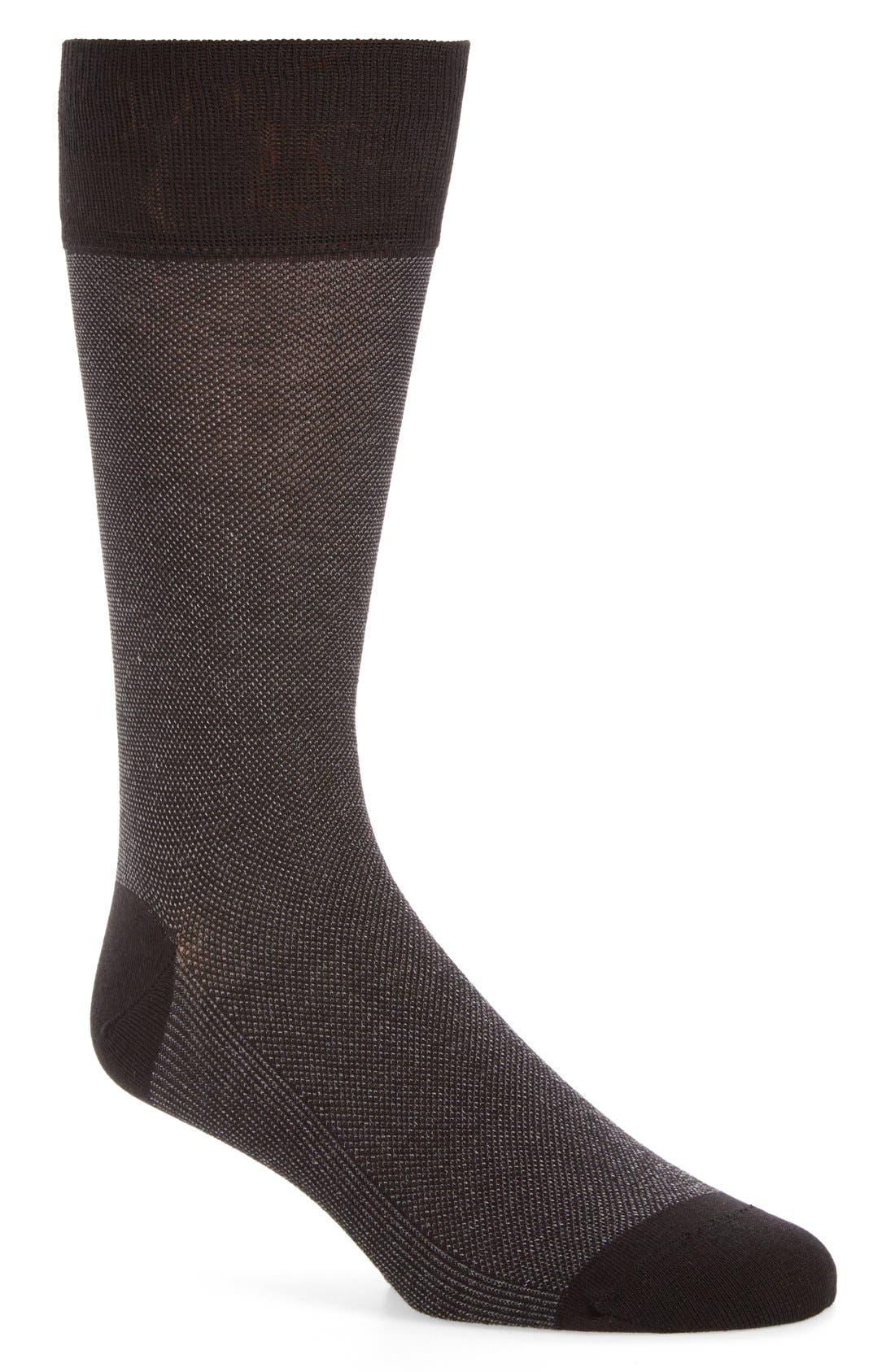 Piqué Texture Crew Socks,                             Main thumbnail 1, color,                             Black