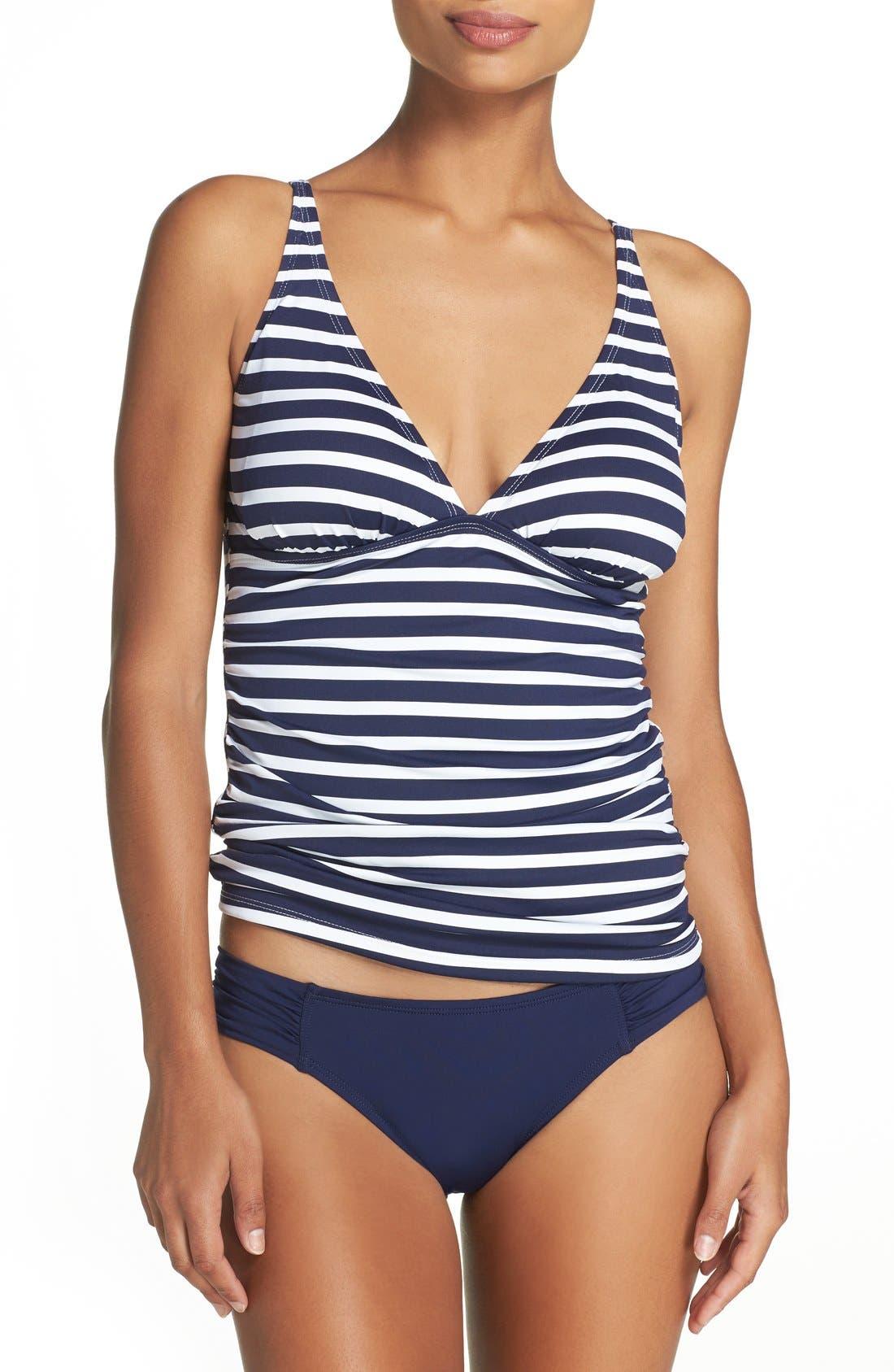 Stripe Tankini Top,                         Main,                         color, Mare Navy