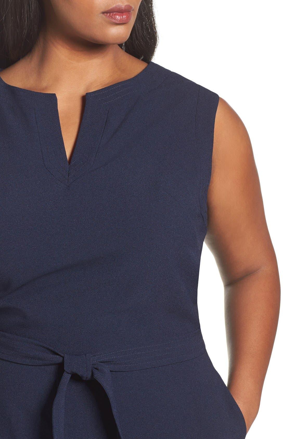 Alternate Image 5  - Vince Camuto Tie Waist Sleeveless Crepe Jumpsuit (Plus Size)