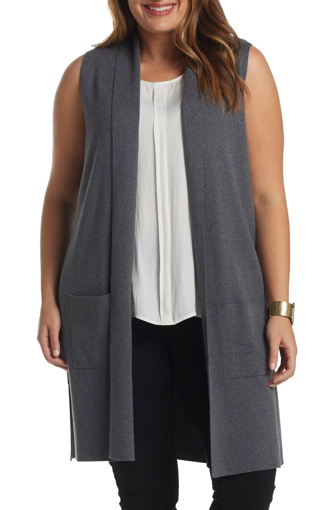 Main Image - Tart Melva Cotton & Cashmere Open Front Sweater Vest (Plus Size)