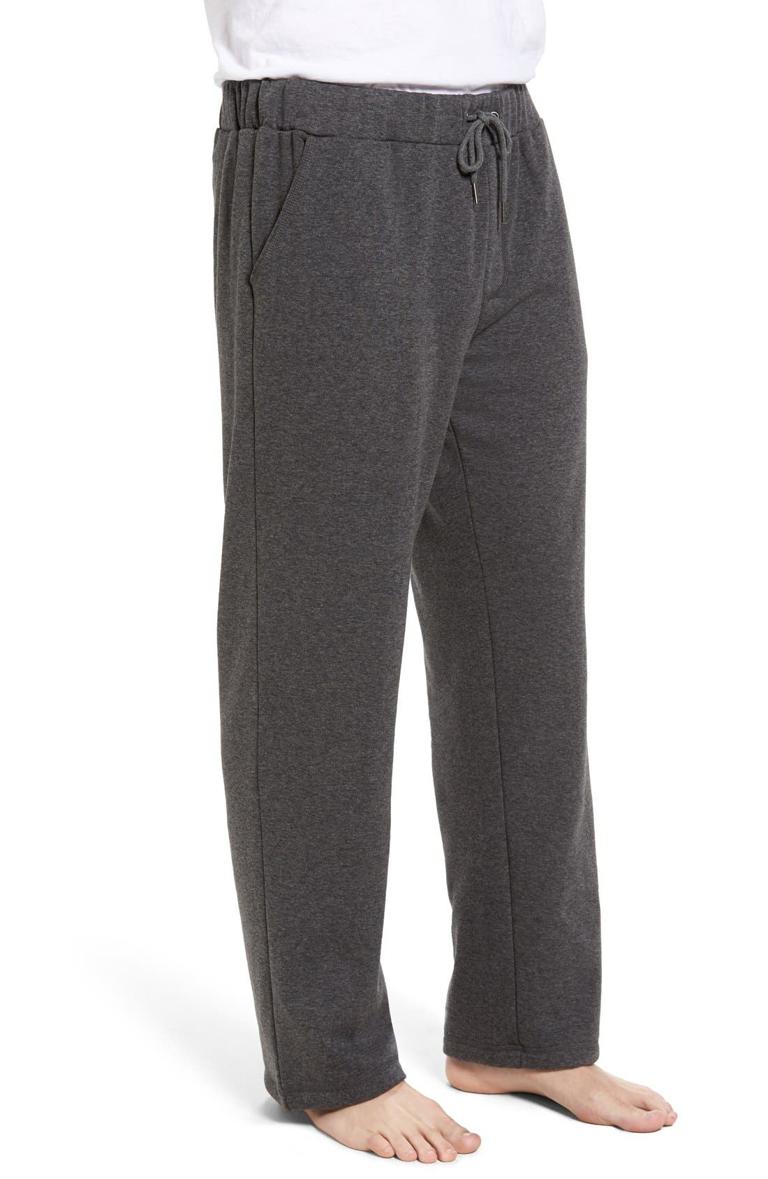 Fleece Lounge Pants,                             Alternate thumbnail 3, color,                             Grey Heather