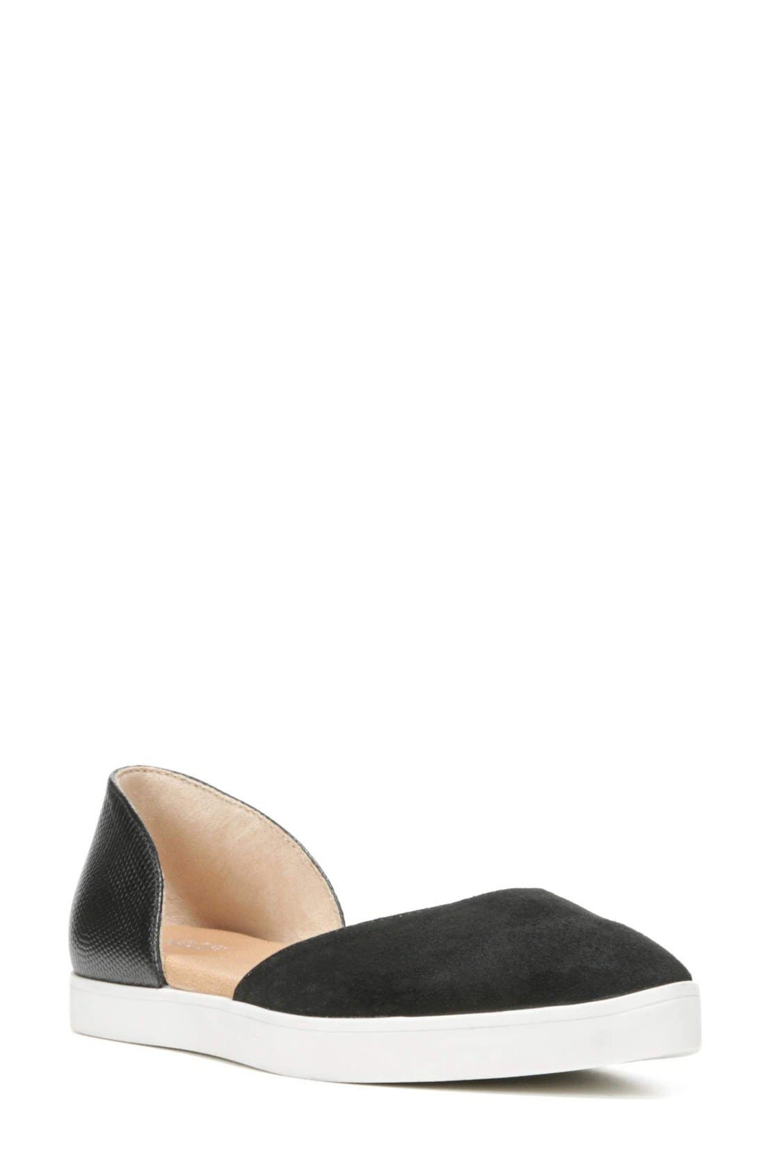 Vienna II d'Orsay Flat,                             Main thumbnail 1, color,                             Black Suede/ Leather